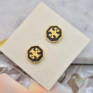 Tory Burch Enamel Hexagon Logo Earrings